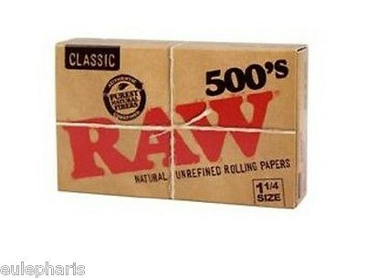 PAPEL DE FUMAR RAW 500´s NATURAL,Classic 1 1/4, Librillo librito caja, GROW