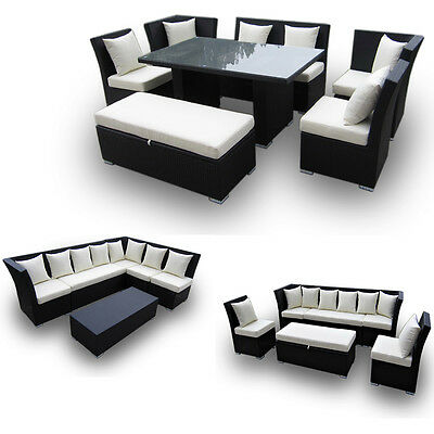 WICKER PATIO FURNITURE 7 pc Jamaican Sectional Dining & Sofa Set Brown w/ Ivory