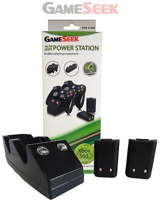 Twin Charging Cradle - Black (Xbox 360 Charge Dock +2 Rechargeable Batteries) -