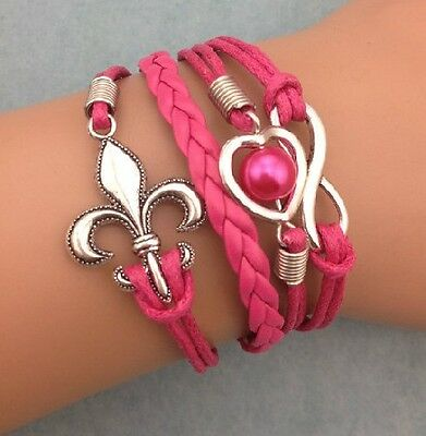 NEW Retro Infinity Heart Anchor Pearl Leather Charm Bracelet plated Silver HOT