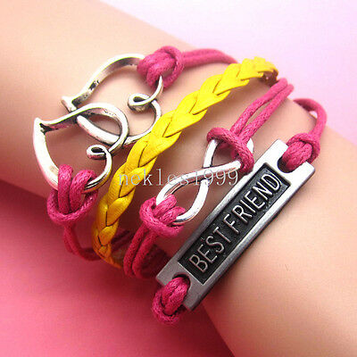 New DIY Hot Infinity BEST FRIEND Leather Cute Charm Bracelet plated Silver AD
