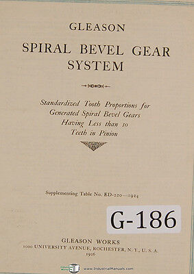 gleason straight bevel gear system tooth porportions manual 1942 rh picclick com Amboid Gear Hypoid Bevel Gears