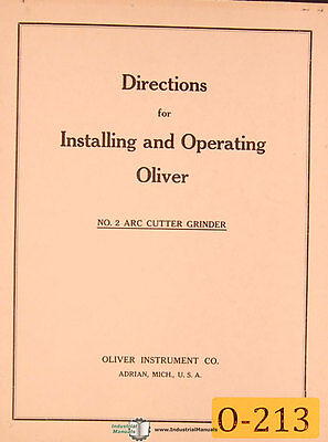 Oliver No. 2, ARC Cutter Grinder, Installation and Operations Manual Year (1937)