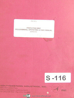 Southwestern Industries TRAK MX2, Milling Programming & Operations Manual 1994