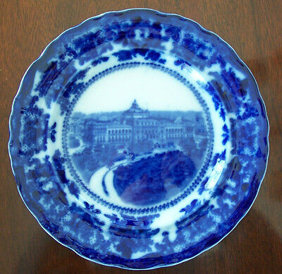 Beautiful Flow Blue Antique Memorial Souvenir Plate