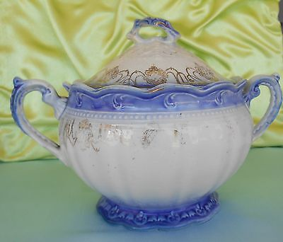 Trenle Royal China - Blue Sugar Bowl - Vintage Flow Blue