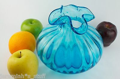 """Beacon Vintage Blue handcrafted glass vase 7 """" pinched ruffle top - Jersey Glass"""