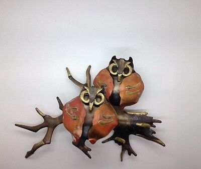 Pair of Handcrafted Copper & Tin OWLS on limb Wall Hanging SCULPTURE 8.5 x 10.5