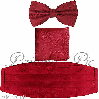 Brand New Paisley RED / Red Cummerbund And Bow tie & Pocket Square Hanky Set
