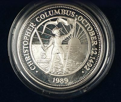 1989 Bahamas $5 Sterling Silver Proof The Dawn of a New World Columbus Coin
