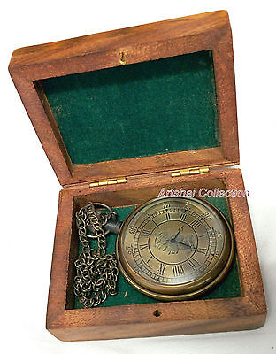 Hand-made engraved pocket watch with beautiful wooden case and chain