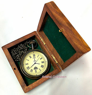 Ship design pocket watch with chain and wooden box