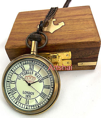 Artshai Pocket watch with chain and wooden box. Victorian design. Nautical gift
