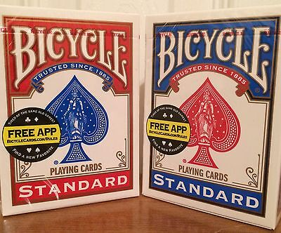 2 new sealed decks of bicycle playing cards 1 blue and 1 red