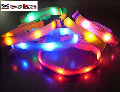 "BRIGHT LED Flashing, LIGHT UP CAT or TOY DOG Safety Collar--"" UK SUPPLIER"""
