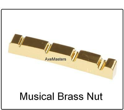 "USA MADE AxeMasters 1 1/2"" 38mm CURVED BRASS NUT for Fender JAZZ Bass Guitar"