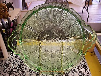 Green Jeanette Cherry Blossom Handled 12 inch Tray / Cake Plate