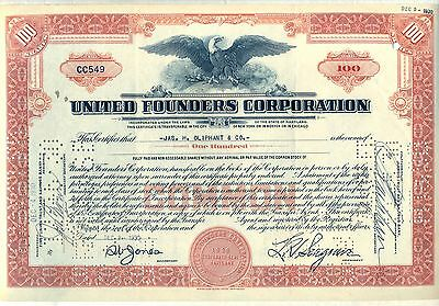 United Founders Corporation Stock Certificate Maryland