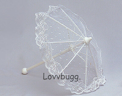 """White Lace Parasol for 18"""" American Girl Doll Clothes LOVVBUGG=SELECTION!"""