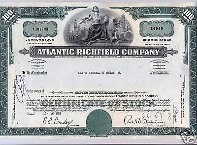 The Atlantic Richfield Company Stock Certificate Oil Refining BP Green