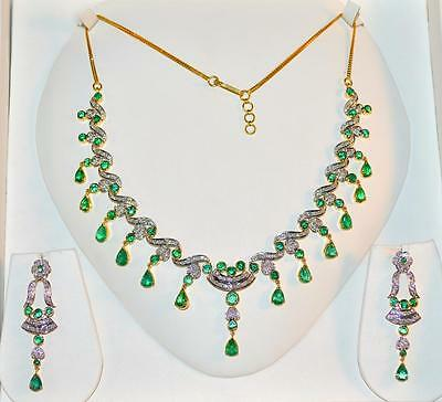 Certified Natural 20Ct Vs F Diamond Emerald 18K Solid Gold Necklace Earrings Set