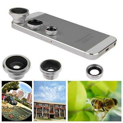 For iPhone6 6Plus 5S 5C 5 4S 3 in 1 Macro Lens Camera + Fish eye +Wide Angle Kit