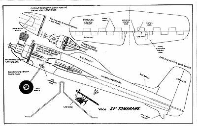 """Model Airplane Plans 1/2 A Veco TOMAHAWK 24"""" wing"""