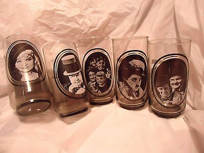 5 Vintage/Collectible Arby's Hollywood  Series Glasses WC Fields Laurel & Hardy.