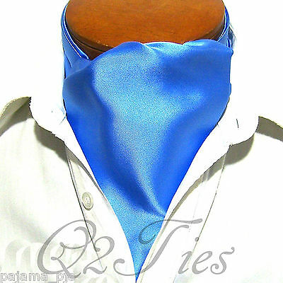 MEN'S SOLID BABY BLUE Free Style Casual Ascot Cravat Formal Party Wedding