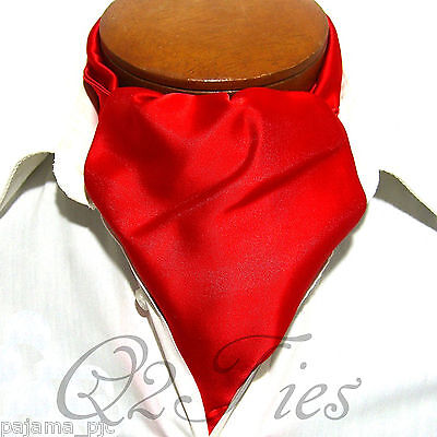 MEN'S SOLID RED Free Style Casual Ascot Cravats Formal Party Wedding