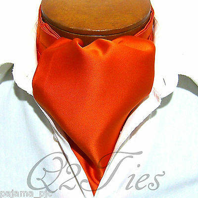 MEN'S SOLID ORANGE Free Style Casual Ascot Cravats Formal Party Wedding