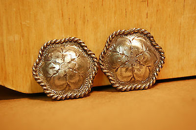 """""""Conchos"""" Pair Western Sterling Silver Vintage Bridal Braided Rosettes 1994"""