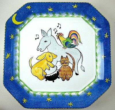 pRESENT tENSE Anne Hathaway CHILDS SERVING PLATE Animals Music Painted Wall Hang