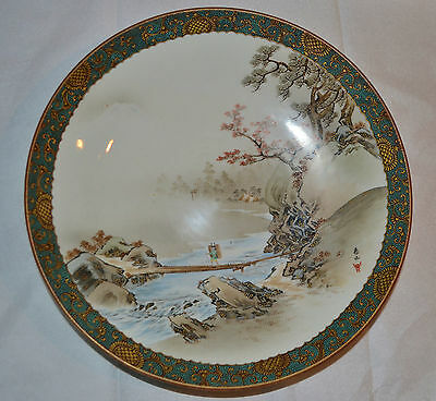Artist Signed Old Antique Meiji Period Japanese SATSUMA Large Plate Hand Painted