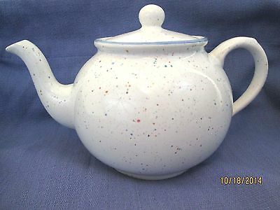 Arthur Wood  English Teapot  White With Colored Speckles NICE!