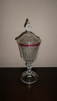 Antique Clear Glass Diamond Cut Lidded Compote