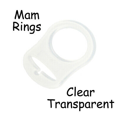 5 Clear Silicone Nuk Button MAM Ring Dummy / Pacifier Holder Clip Adapter
