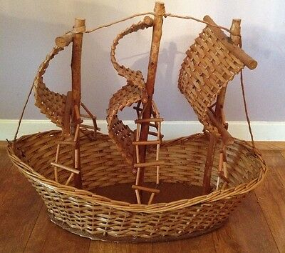 Wicker/Rattan Sailboat Basket from Portugal