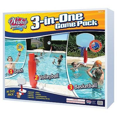 NEW Wahu Pool Party Game Pack 3 In 1 Play Multiple Games For Age 5+