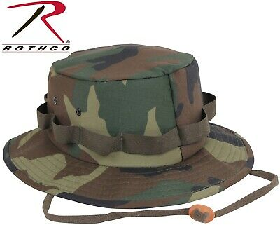 KIDS WOODLAND CAMO Military Style Boonie Bucket Camping Hunting Jungle Hat 5547