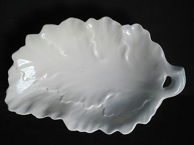 Vintage White Ceramic Leaf Shaped  Scalloped Candy/Nut Dish Serving ITALY