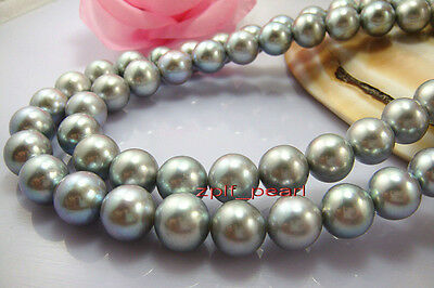"""LONG AAA++ 35""""11-12mm REAL south sea NATURAL silver gray pearl necklace,Gold 14K"""