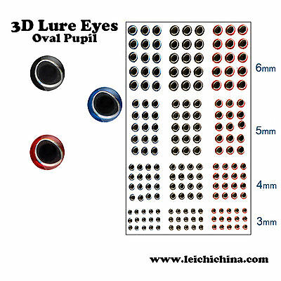 3 D Fishing Lure Eyes Sticker 360 Pieces Fly Tying Eyes Size 3/4/5/6