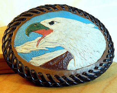 Vintage Hand Painted Eagle and Stitched Leather Belt Buckle 1 of a Kind Animal
