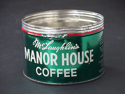 Vintage 1950's Key-Wind Opener 1-lb. McLaughlin's Manor House Coffee Tin Can