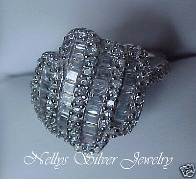 BOLD Vintage style 4.33ctTW Domed CZ Micro-Pave Right-Hand Cocktail Ring Sz6 7 8