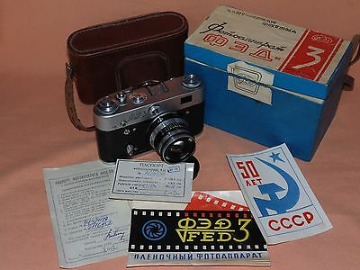 FED-3 INDUSTAR-61 2,8/52  50 YEARS USSR Rangefinder Camera with BOX  Excellent!