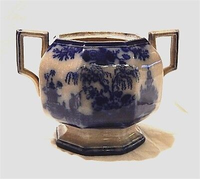 ANITQUE SCINDE FLOW BLUE SUGAR BOWL - NO LID china pottery