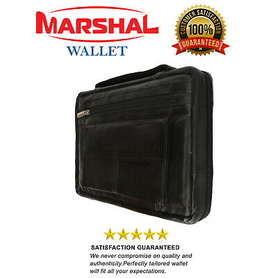New Large Black Genuine Leather Bible/Book Cover Case  Zippered  Organizer
