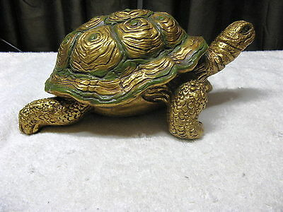 GOLD WITH GREEN TRIM CHALKWARE TURTLE BY PROGRESSIVE ART PRODUCTS 1966